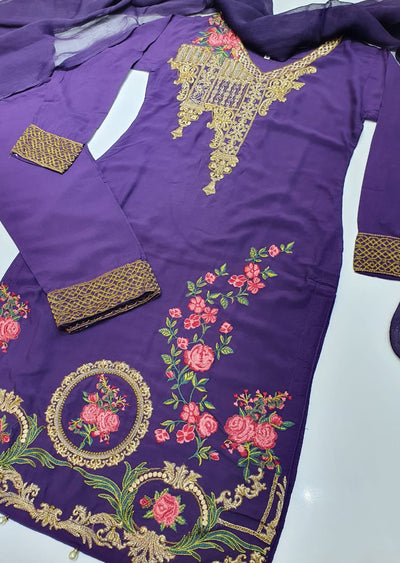 D3 Readymade Purple Linen Embroidered Suit - Memsaab Online