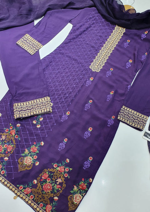 D1 Readymade Purple Linen Embroidered Suit - Memsaab Online