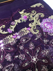 05 Venus - Purple - Unstitched - Chantelle Embroidered Chiffon by Baroque - Memsaab Online