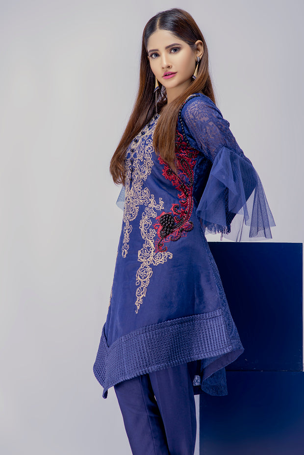 Qiraat - Blue - Eternal by Memsaab - Ready to Wear Pakistani Designer Suit with handwork - Memsaab Online