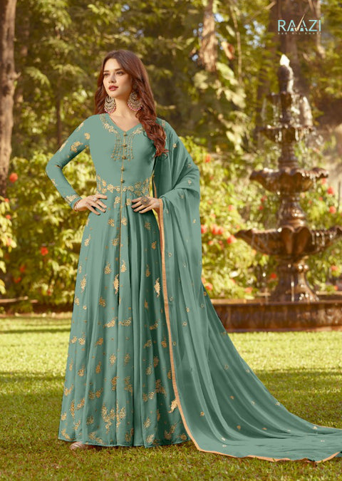 KS - 20023 - Raazi - Mint - Pakistani Indian style simple long dress with embroidery - Memsaab Online