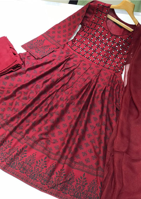 HK56 Bariqa - Red Embroidered Linen Frock - Memsaab Online