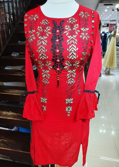 ZA531 Red Readymade Linen Embroidered Kurti - Memsaab Online