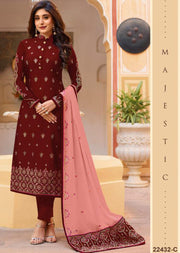 22432 - Red Unstitched Embrodered Salwar kameez - Memsaab Online