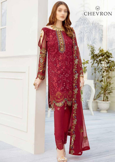 Ruby Dream - Unstitched Chiffon Suit - Chevron Vol 2 Ramsha - Memsaab Online