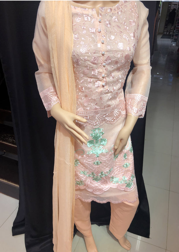 SD09 Readymade Cotton Masuri Peach Embroidered Suit - Memsaab Online