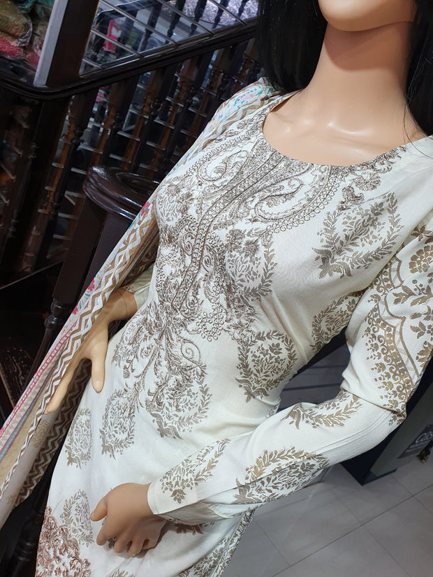 SDQ32 Readymade Cream Embroidered Summer Lawn Suit - Memsaab Online