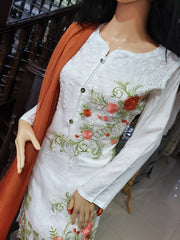 SDQ35 Readymade Tissue Organza Embroidered Suit - Memsaab Online