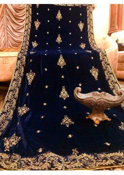 Navy Embroidered Velvet Shawl - Memsaab Online