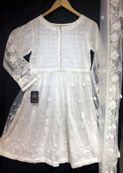 2069 White Readymade Formal Shaposh Net Frock Suit - Memsaab Online