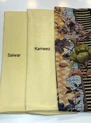Sheesha - Gold - Winter Plain suit with printed shawl - Unstitched - Memsaab Online