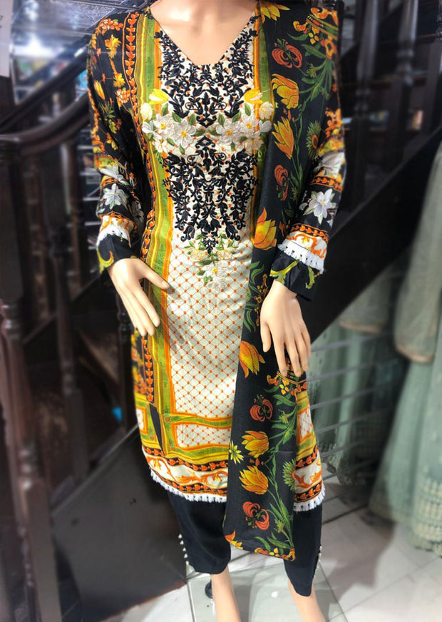Readymade Embroidered Linen Suit with Wool Shawl - Memsaab Online