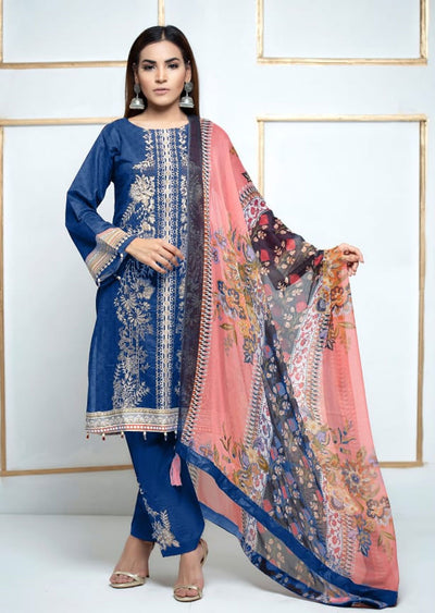 SM03 - Blue Readymade Simrans Lawn Luxury Collection Vol 2 2020 - Memsaab Online
