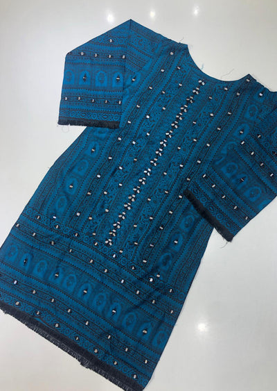 ZA532 Teal Readymade Linen Embroidered Kurti - Memsaab Online