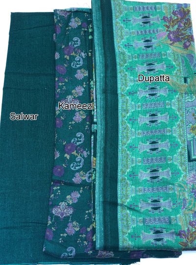 Aaina - Green - Winter Printed suits Suit with printed shawl - Unstitched - Memsaab Online