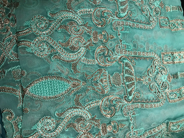D4 Taupe Rose - Turquoise - Unstitched - Chantelle Embroidered Chiffon by Baroque - Memsaab Online