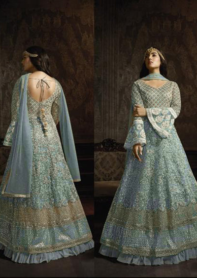 765 Turquoise Unstitched Inspired Embroidered Long Dress - Memsaab Online