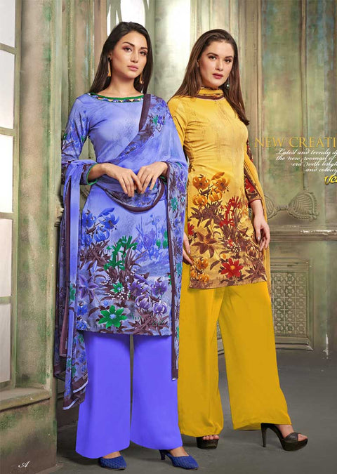 4220 Unstitched Vaishali Crepe Collection 2019 - A B - Memsaab Online