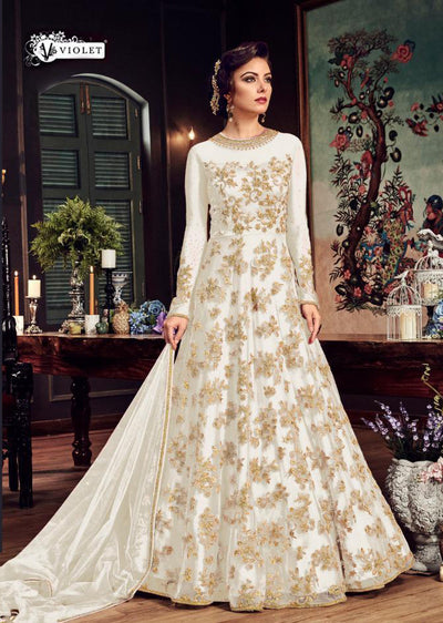 Celise - H - White - Maxi Dress Style on Net with Embroidery - Memsaab Online