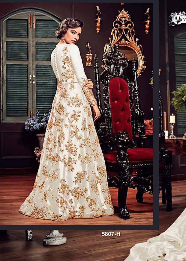 TS5807 Celise - H - White - Maxi Dress Style on Net with Embroidery - Memsaab Online