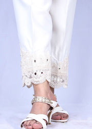 DXTS02 White Silk Embroidered Trouser - Memsaab Online