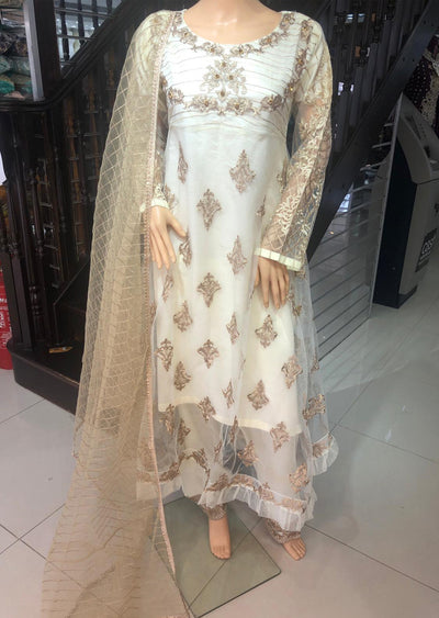 BLG920 Off White Readymade Mother & Daughter Net Suit - Memsaab Online