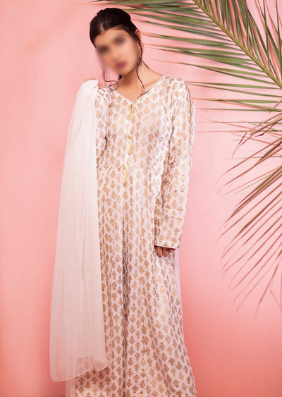 HK18 Readymade White Printed Dress - Memsaab Online