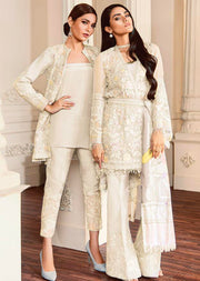 07 FIONA- White - CHANTELLE - Baroque Embroidered Chiffon Fancy Pakistani Designer Suit - Memsaab Online