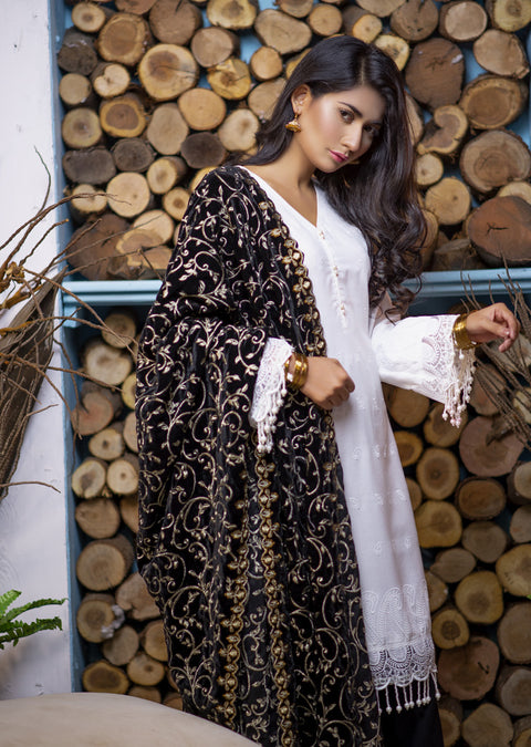 White Readymade suit with Velvet Shawl - Memsaab Online