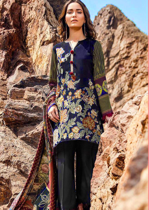 Wild Bliss - Unstitched - Navy - fuchsia by baroque inspired pakistani shawl suit - Memsaab Online