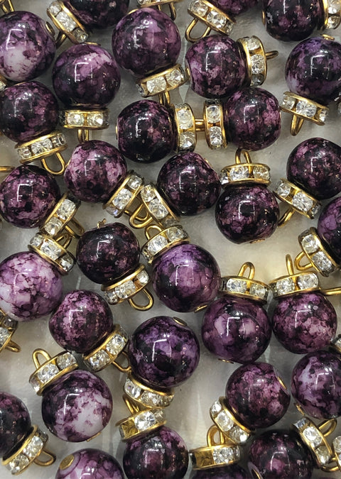 X4 - 4 x Purple Beads - Pakistani Indian ethnic Beads Hangings Embellishments Pearls - Memsaab Online