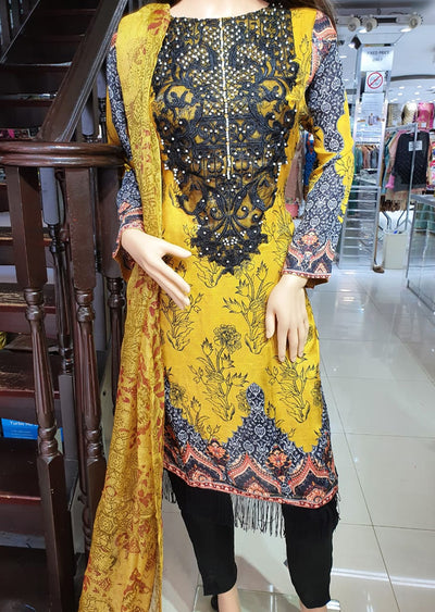 SM606 Yellow Simrans Readymade Linen Embroidered Suit - Memsaab Online