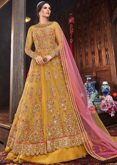 6103 Mustard Unstitched - Indian Ethnic indo Western style Dress - Memsaab Online