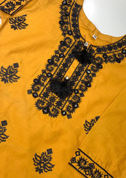 ZA591K Readymade Mother & Daughter Kids Yellow Cotton Kurti - Memsaab Online