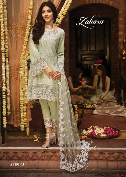 Zahara - Anaya by Kiran Chaudhry - Festive Collection 2019 - Unstitched Pakistan Designer Embroidered Lawn Original Suit - Memsaab Online