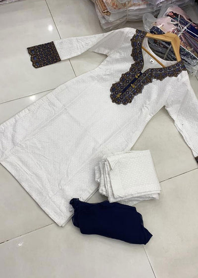 ZAS620 Readymade White Chicken Suit - Memsaab Online