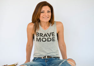 "Ladies ""BRAVE MODE"" Scoop Muscle Tank [Heather]"