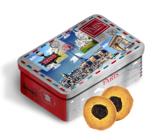 Blueberry Butter biscuits in a large Paris vintage tin box