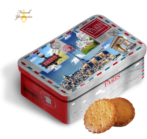French assorted biscuits in paris tin box