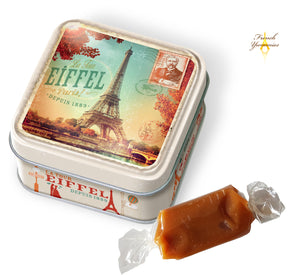 French caramels salted in Paris tin box