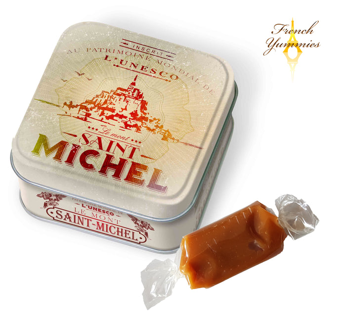 Mt St Michel Unesco tin box with blueberry caramels