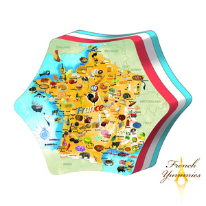France map tin box with butter biscuits 280g French Yummies