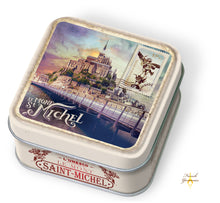 Load image into Gallery viewer, French Yummies Tin box Mont Saint Michel vintage with salted butter caramels 45g