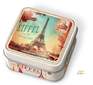 Tin box Paris vintage with salted butter caramels French Yummies