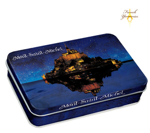 Mt St Michel at night tin box with caramel candies 55g French Yummies