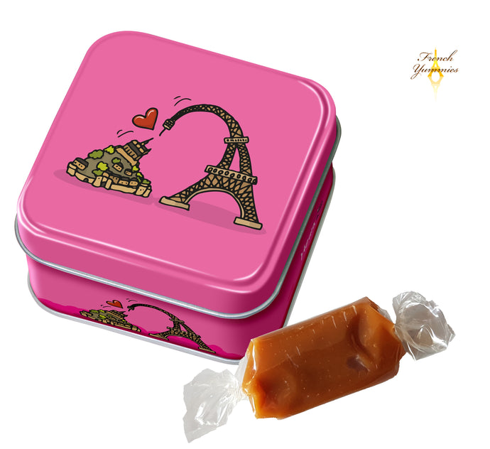 french soft caramels in tin box