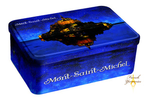 Assorted biscuits in a large Mt St Michel at night tin box 300 gr French Yummies