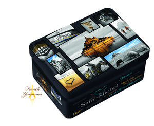 Mt St Michel pictures tin box with salted butter caramels 130g