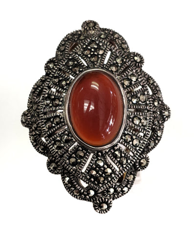 Sterling Silver Carnelian & Marcasite Ring