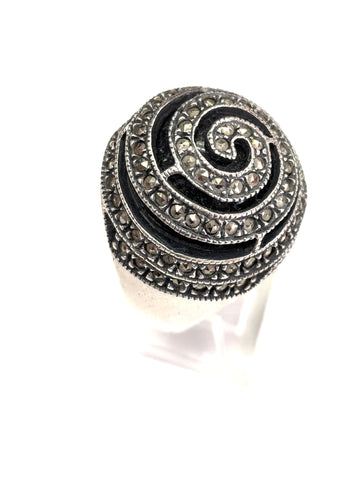 Sterling Silver, Onyx & Marcasite Dome Ring